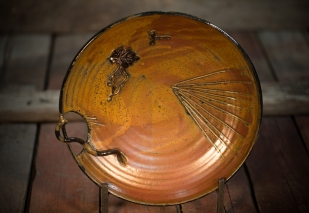 Brown Plate with Pine Needles