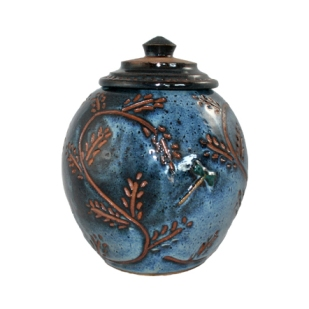 Round Jar Blue with Lid