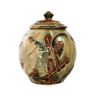 Round Jar with Lid and Dragonfly